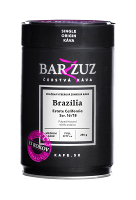 Brazília, pražená káva - Estate California, Scr. 16/18 Pulped Natural , 250 g
